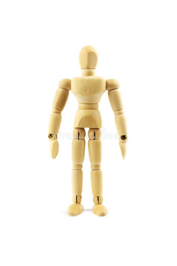 Figura do homem de Woodem isolada foto de stock royalty free