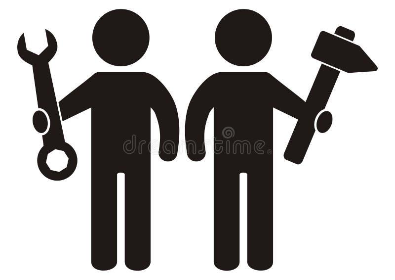 Figura dois com ferramenta, chave e martelo, silhueta preta, ícone do vetor ilustração royalty free
