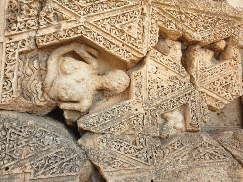 Figura dos fresco de Líbano Baalbek Citadele fora do dia imagem de stock