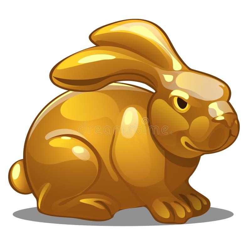 Figura dourada do coelho Símbolo chinês do horóscopo ilustração royalty free