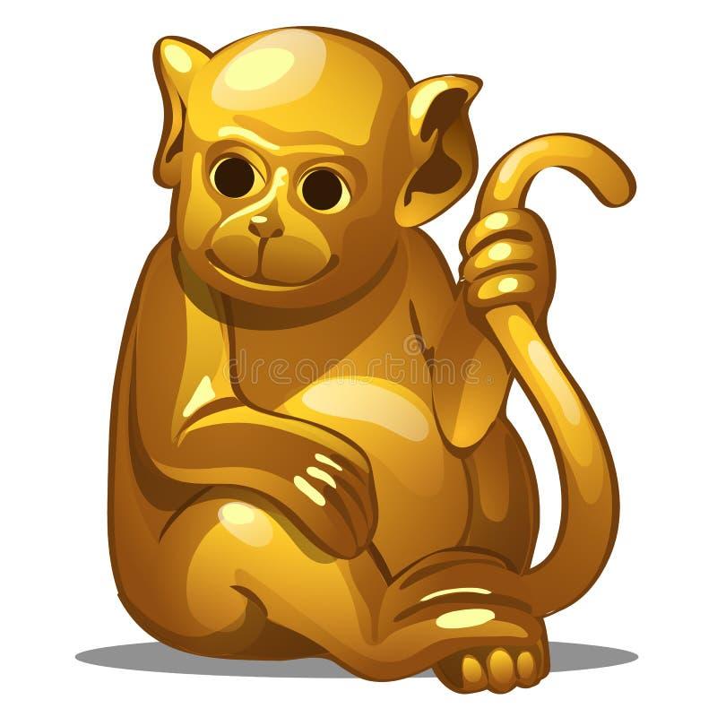 Figura dourada do macaco Símbolo chinês do horóscopo Astrologia oriental Escultura isolada no branco Vetor ilustração do vetor