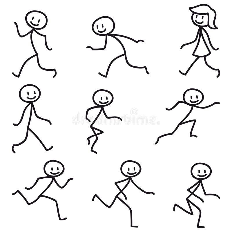Figura el caminar corriente feliz del palillo del hombre del palillo stock de ilustración