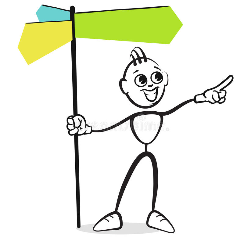 Figura emociones de la serie - señal de tráfico del palillo suceptible de inscripción stock de ilustración