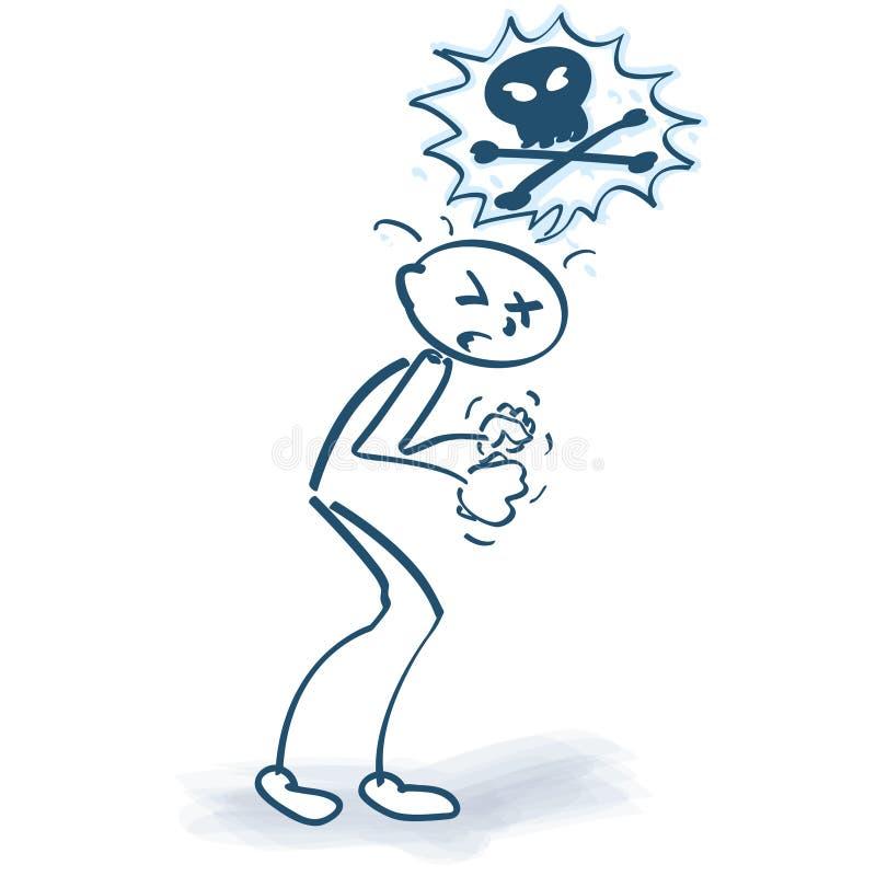 Figura enojada del palillo con un cráneo libre illustration