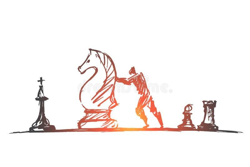 Figura enorme movente tirada mão da xadrez do homem ilustração do vetor