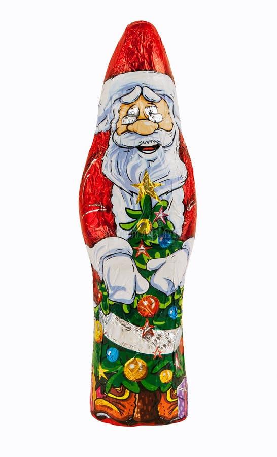 Figura envuelta del chocolate de Papá Noel fotografía de archivo