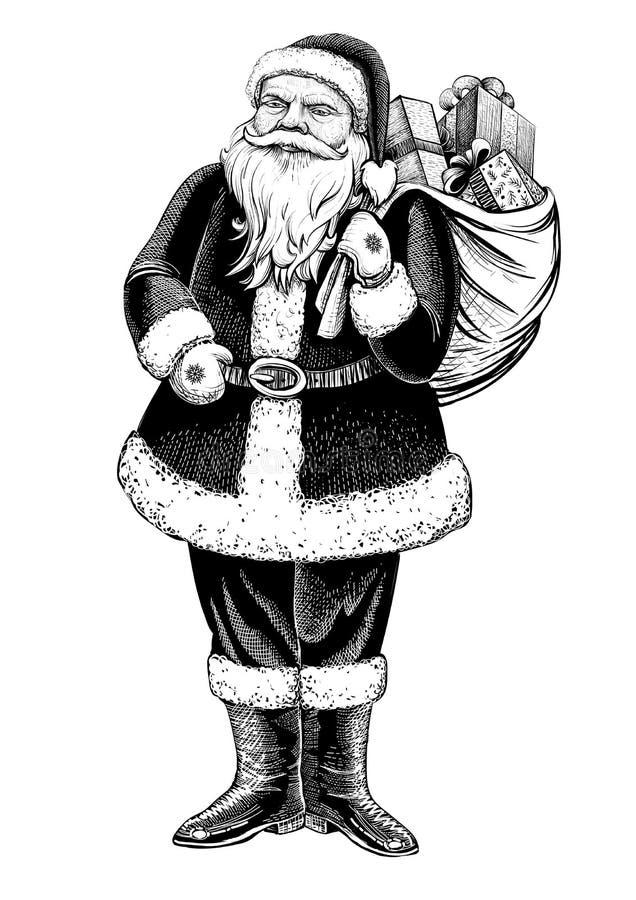 A figura ereta de Santa Claus com o saco completo dos presentes Vector a ilustração tirada mão ilustração stock