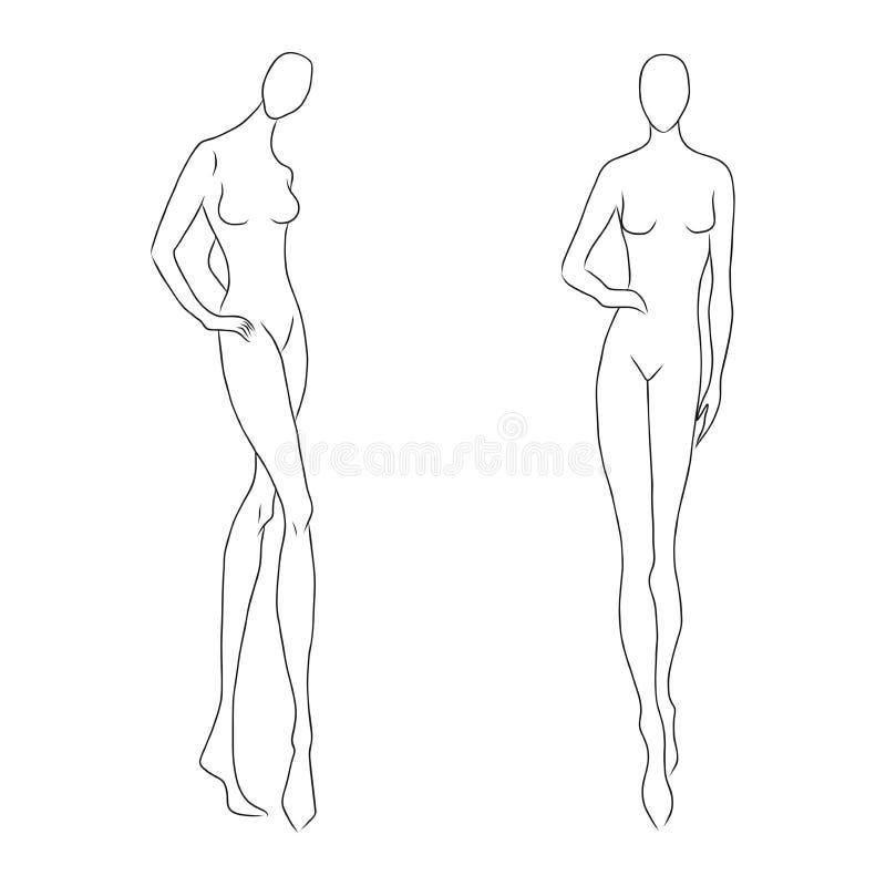 Figura esboço do ` s das mulheres Poses diferentes Molde para tirar para desenhistas de construtores do nd da roupa Modelo da men ilustração stock