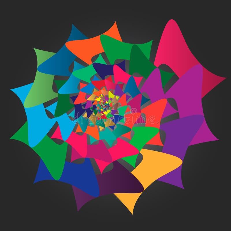Figura espiral abstrata festiva multicolorido rotação Fundo preto ilustração stock