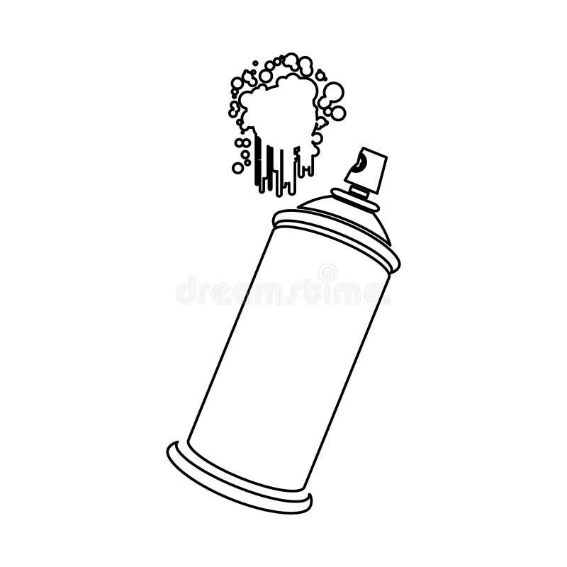 figura esprayes de aerosol con un icono de la mancha ilustración del vector