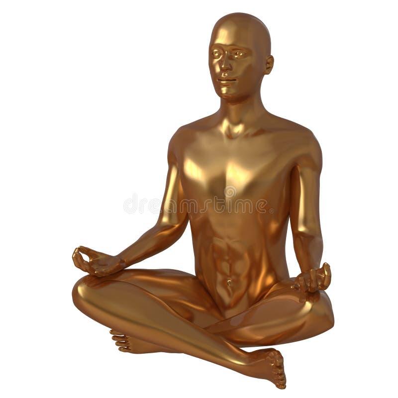 Figura estilizada estatua de lujo del hombre del loto de la yoga de oro de la actitud libre illustration