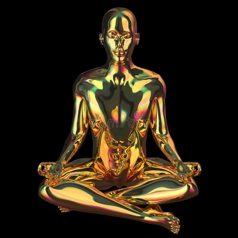Figura estilizado lustroso efervescente do homem dourado da pose de Lotus lustrado ilustração stock