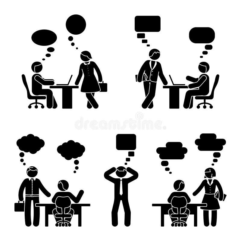Figura executivos da vara do grupo de uma comunicação ilustração royalty free