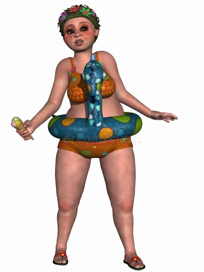 Figura fêmea da fantasia com biquini ilustração royalty free