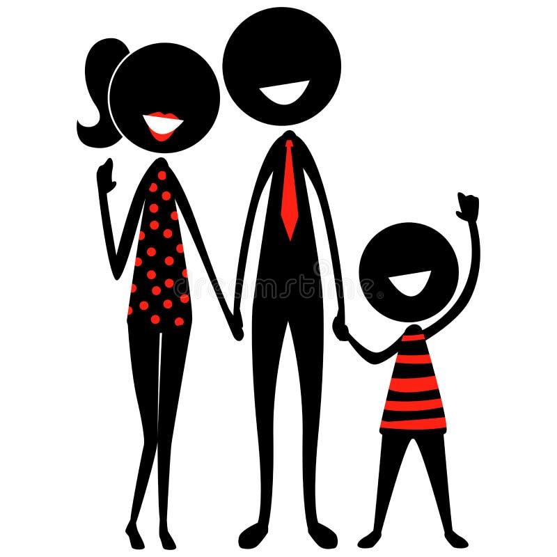 Figura familia del palillo de la silueta del negro ilustración del vector