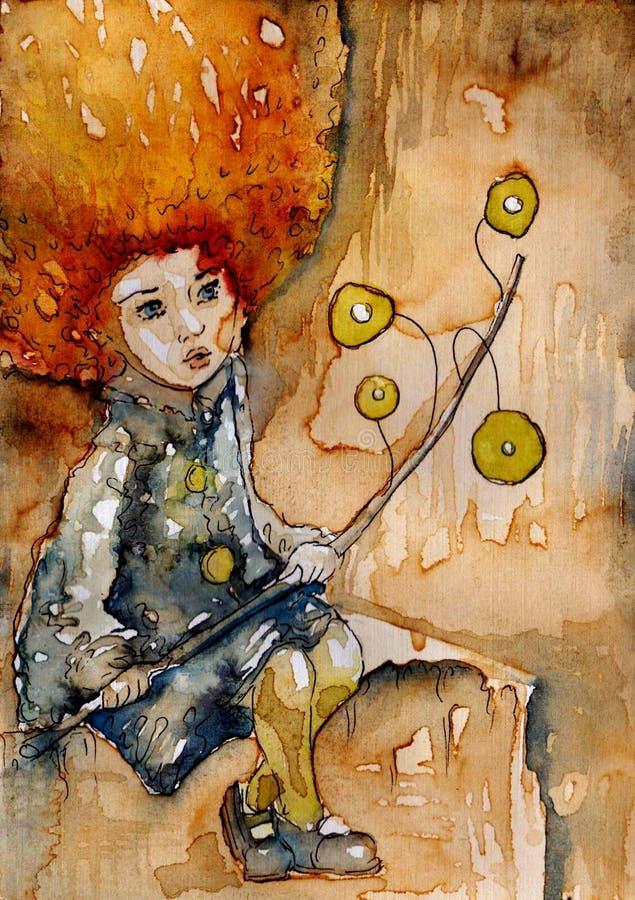 Figura favolosa di una bambina illustrazione di stock