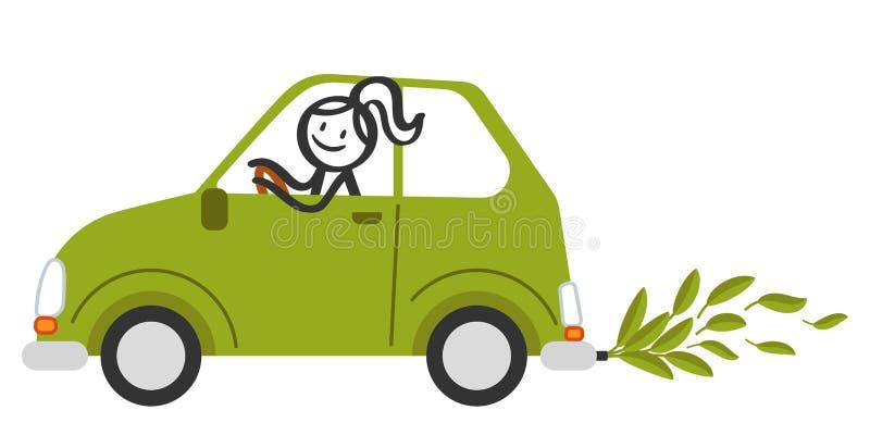 A figura feliz mulher da vara que sorri e que conduz o carro amigável do eco verde pequeno com verde sae em vez das emanações de  ilustração stock