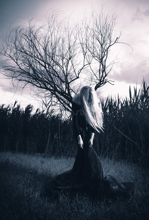 Figura femenina asustadiza imagen de archivo