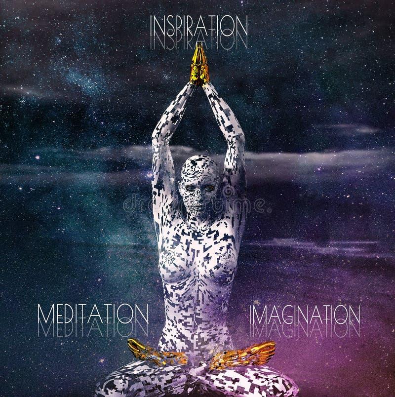 Figura femenina futurista surrealista en actitud de la meditación stock de ilustración