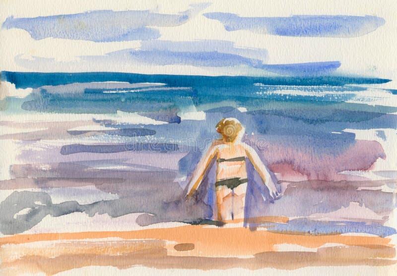 Figura femminile dal mare Schizzo dell'acquerello illustrazione vettoriale