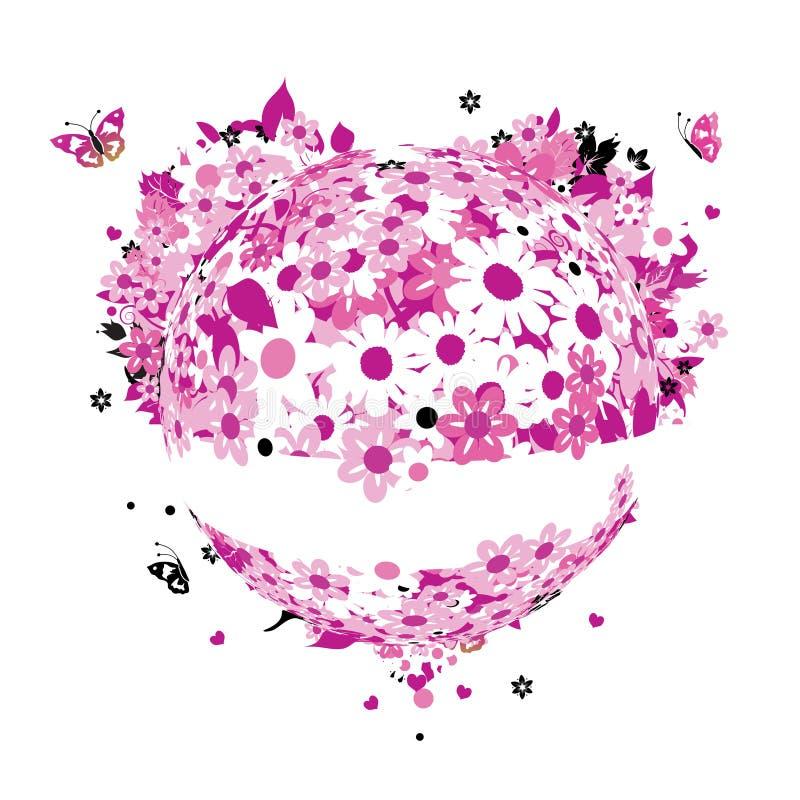 Figura floreale del cuore per il vostro disegno royalty illustrazione gratis