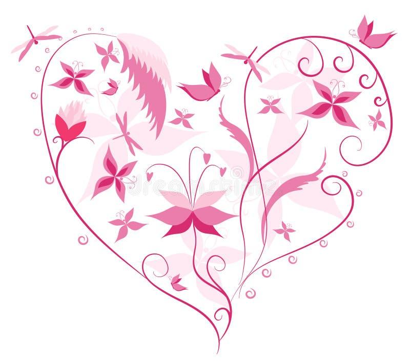 Figura floreale di amore illustrazione di stock