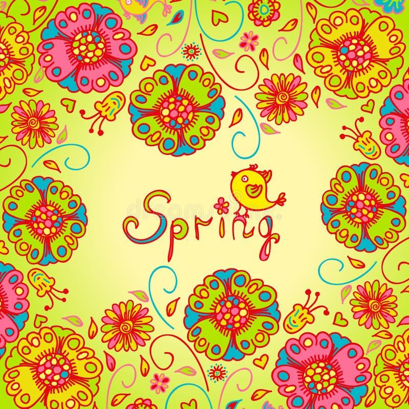 Figura flores da mola, fundo colorido ilustração royalty free