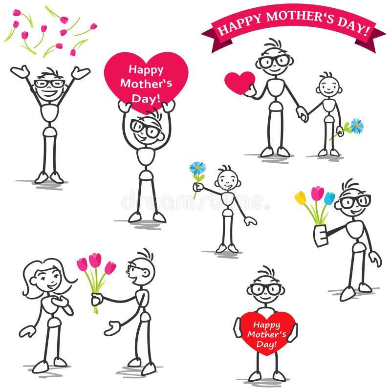 Figura flores da vara de Stickman do amor do dia de mães ilustração do vetor
