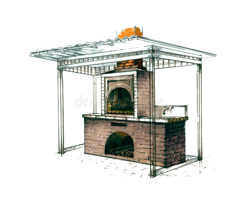 Figura forno di pietra illustrazione di stock