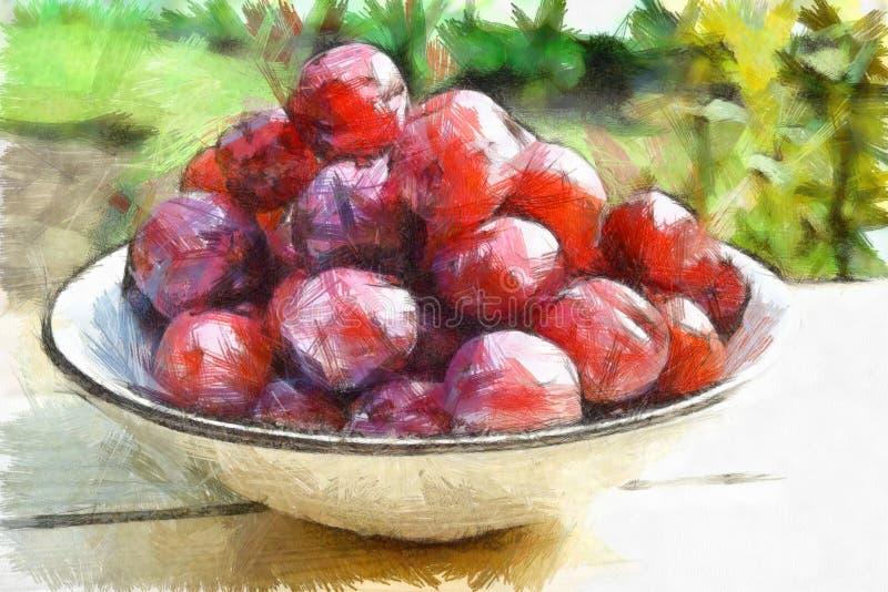Figura fruta dulce deliciosa natural stock de ilustración