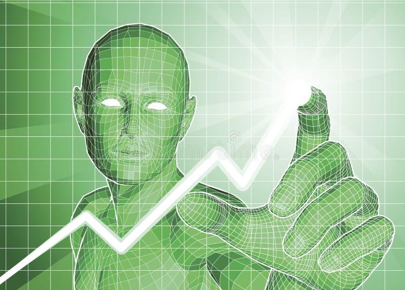 Figura futurista que rastrea tendencia al alza en gráfico libre illustration