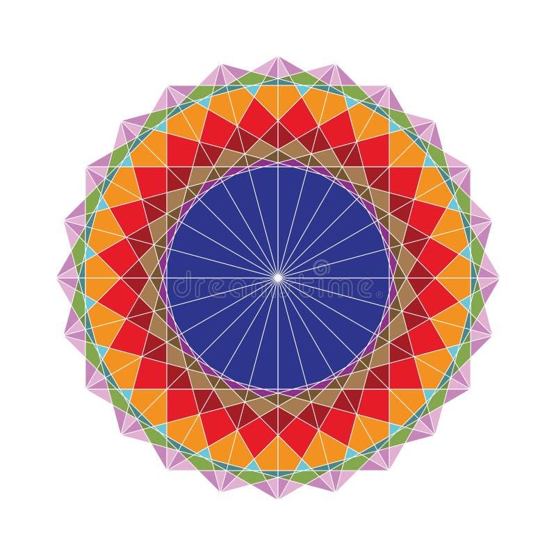 Figura geométrica colorida de elementos sagrados de la geometría ilustración del vector