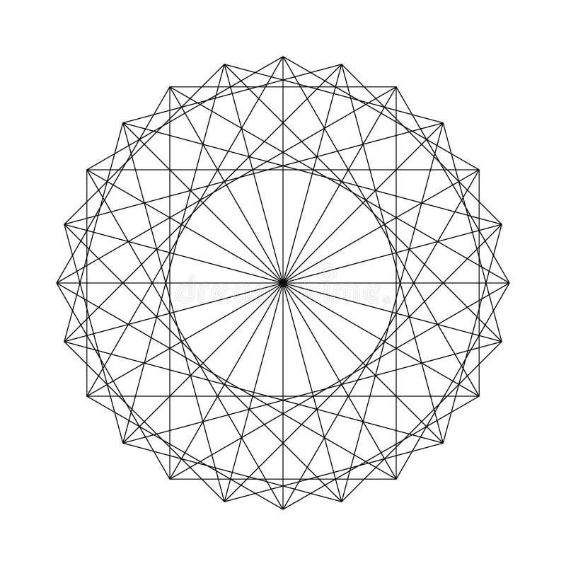 Figura geométrica criada dos elementos sagrados da geometria ilustração stock