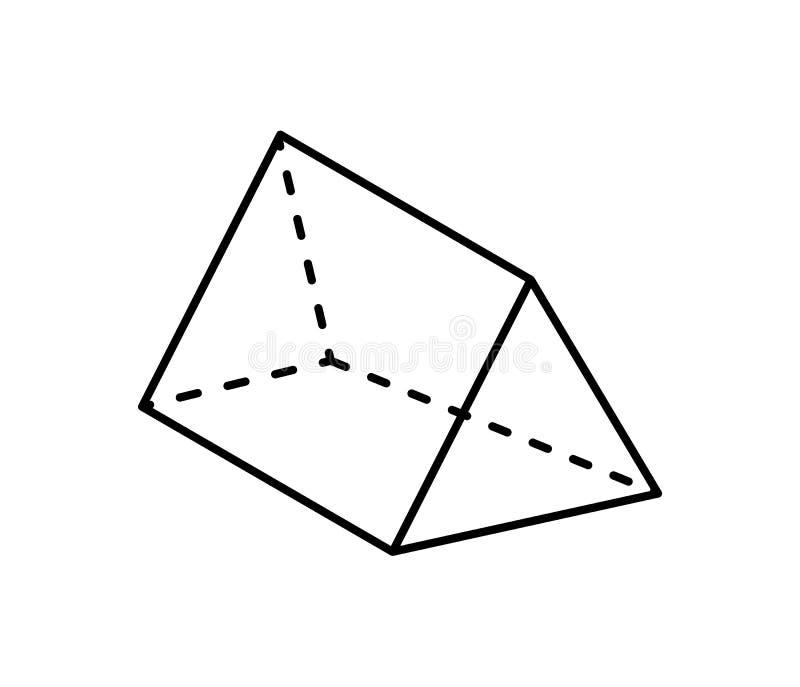 Figura geométrica de prisma triangular na cor preta ilustração do vetor