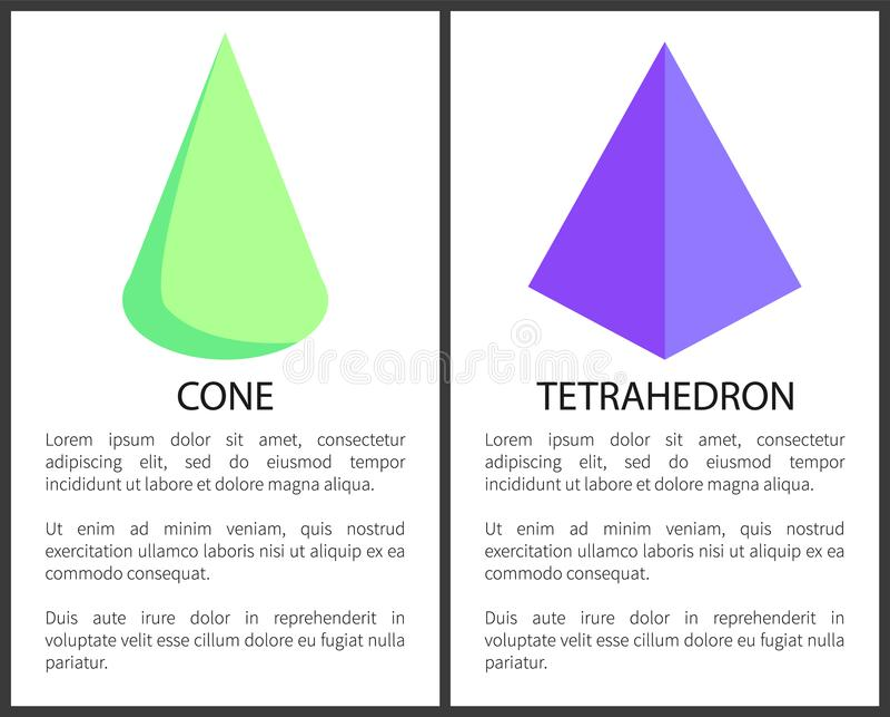 Figura geometrica del tetraedro porpora e del cono verde illustrazione vettoriale