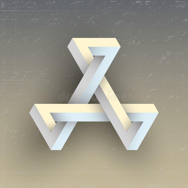Figura geometrica impossibile irreale, elemento di vettore illustrazione di stock
