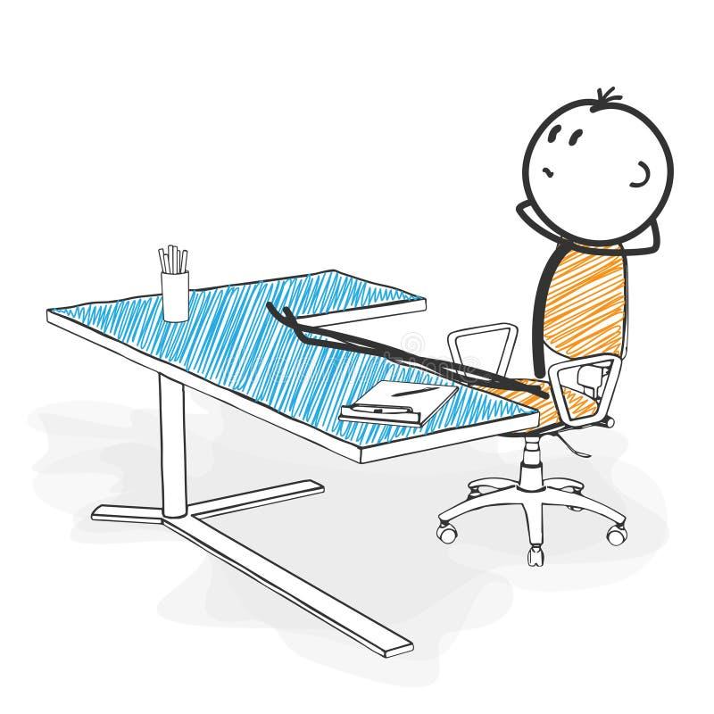 Figura historieta del palillo - Stickman está buscando nuevas ideas de la actitud adentro ilustración del vector