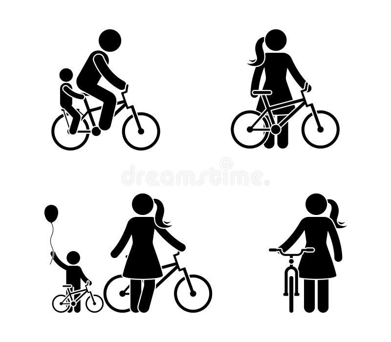 Figura hombre del palillo e icono de la bicicleta de la mujer Gente feliz de la bici del montar a caballo ilustración del vector