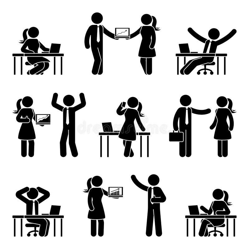 Figura hombres de negocios del palillo fijados Vector el ejemplo de hombres y de mujeres en el trabajo aislado en blanco libre illustration