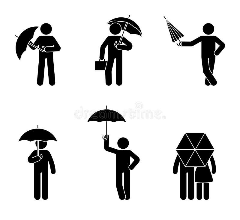 Figura homem da vara com grupo do ícone do guarda-chuva Homem sob a chuva em poses diferentes ilustração stock