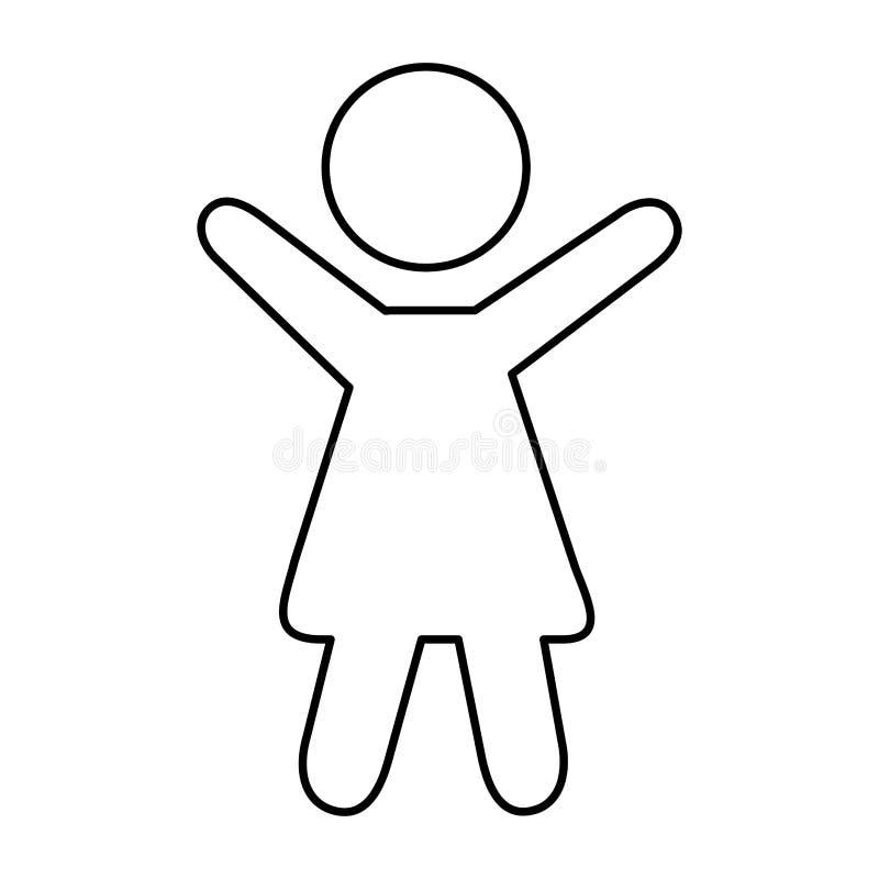Figura humana ícone da mulher da silhueta ilustração stock