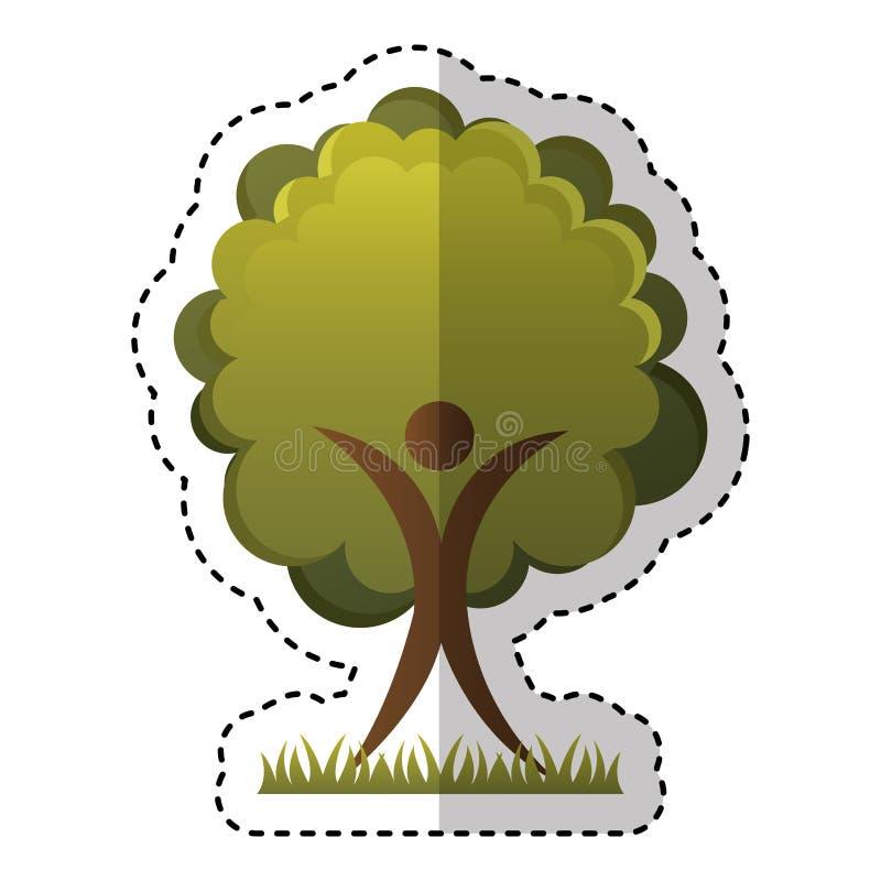 Figura humana com ícone ecológico da planta da árvore ilustração do vetor