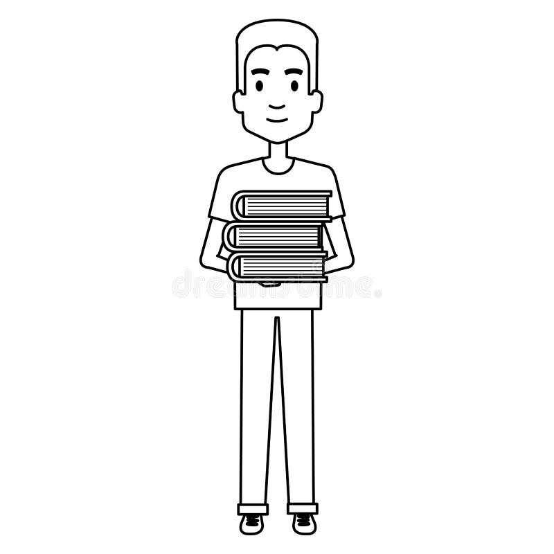 Figura humana con el avatar de la silueta de los libros stock de ilustración
