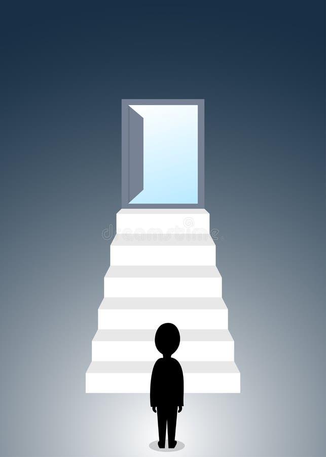 Figura humana de la silueta que se coloca en la base de la escalera a la puerta abierta libre illustration