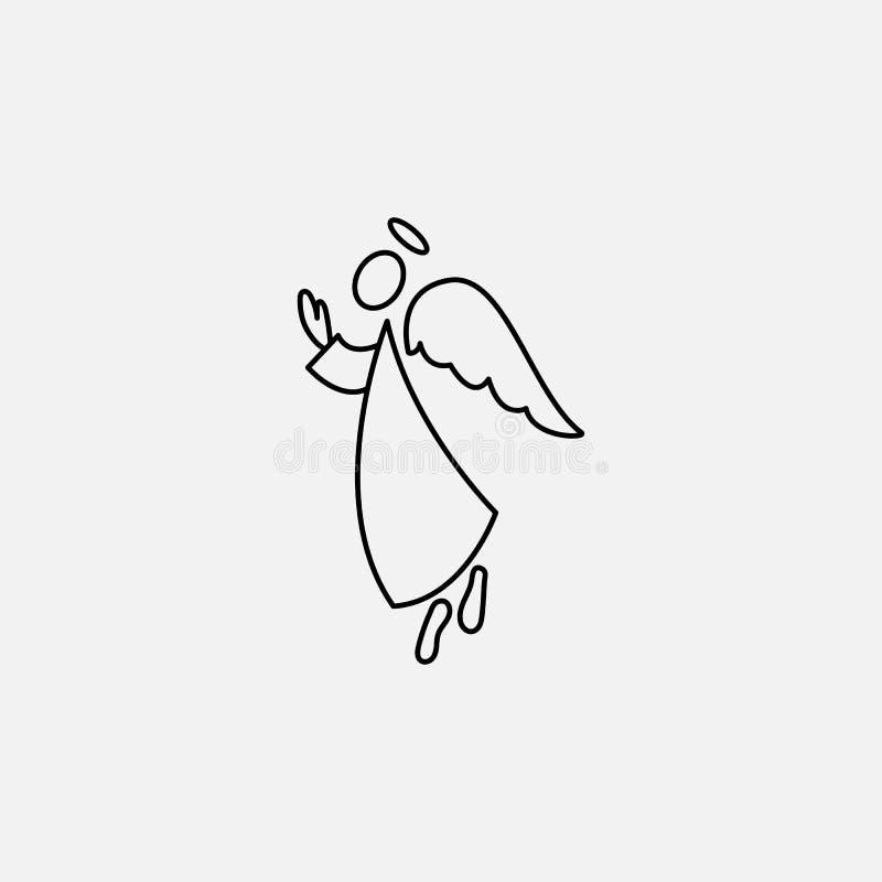 Figura icona ed ali del bastone di angelo illustrazione vettoriale