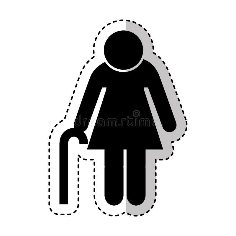 Figura icono de la abuela de la silueta ilustración del vector