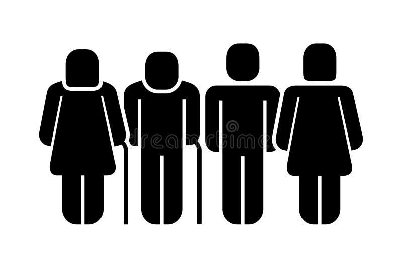 Figura icono de la familia de la silueta libre illustration