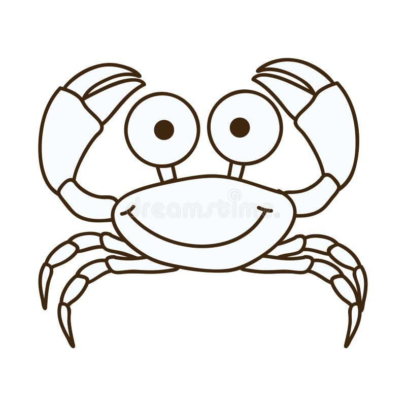 figura icono feliz de la historieta del cangrejo ilustración del vector