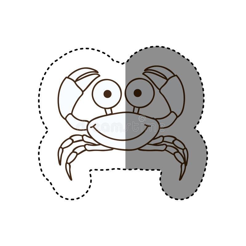 figura icono feliz de la historieta del cangrejo libre illustration