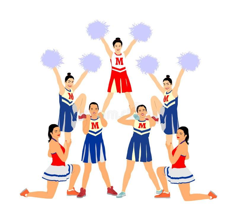 A figura ilustração dos dançarinos do líder da claque do vetor isolou-se Apoio principal do esporte da menina do elogio High Scho fotografia de stock
